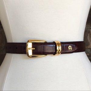 Etienne Aigner Brown Leather Croc Belt Gold Buckle